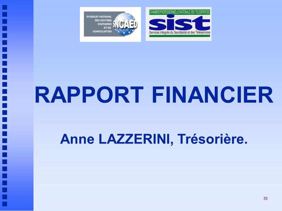 RAPPORT FINANCIER Anne LAZZERINI, Trésorière.
