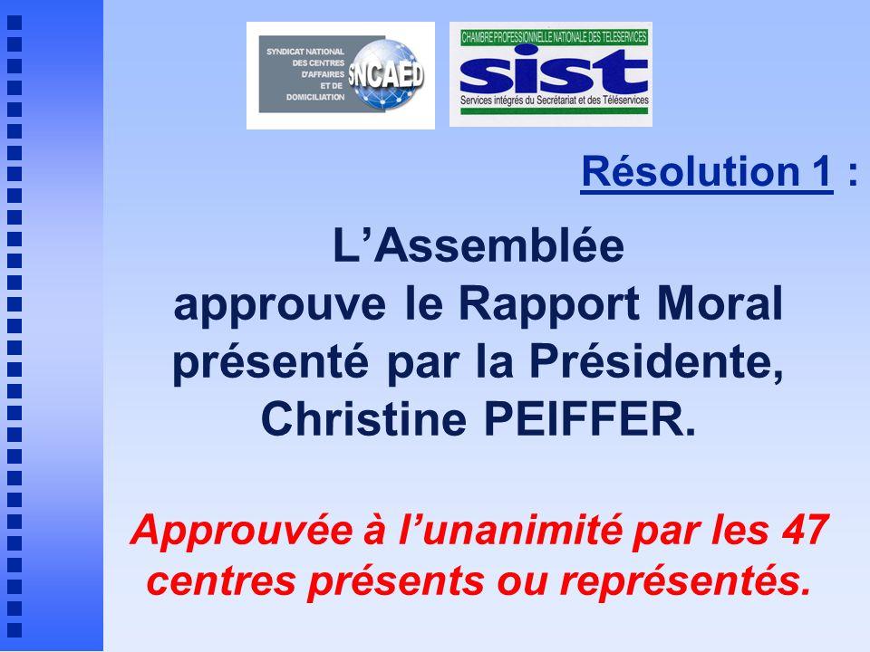 Approuvée à l'unanimité par les 47 centres présents ou représentés.