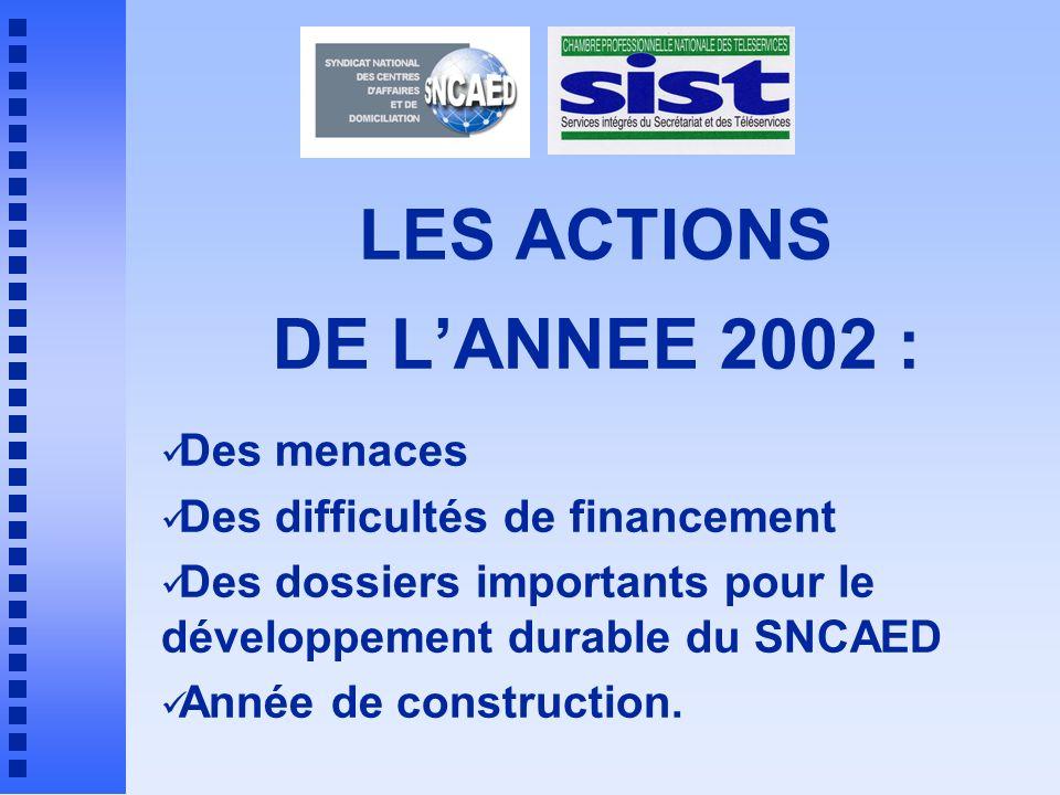 LES ACTIONS DE L'ANNEE 2002 :