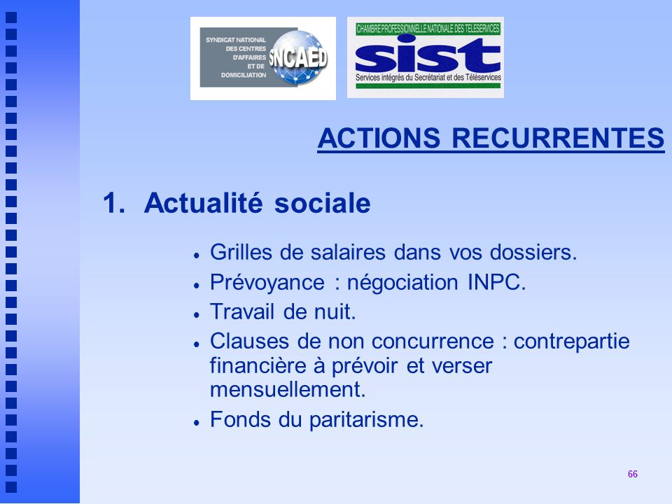 1. Actualité sociale ACTIONS RECURRENTES