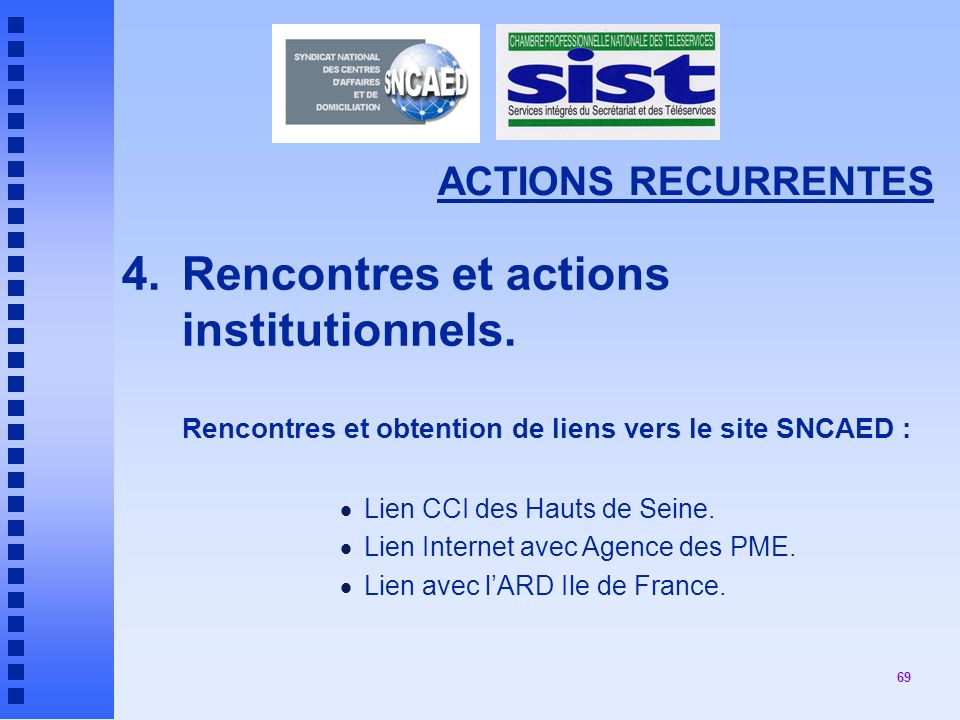 4. Rencontres et actions institutionnels.