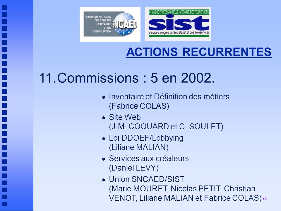 11. Commissions : 5 en 2002. ACTIONS RECURRENTES