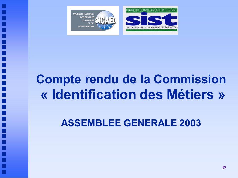 Compte rendu de la Commission « Identification des Métiers » ASSEMBLEE GENERALE 2003