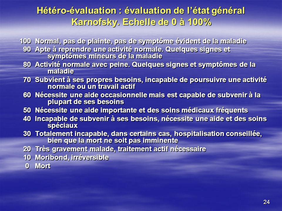 Hétéro-évaluation : évaluation de l'état général Karnofsky