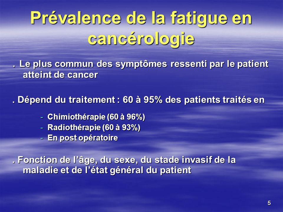Prévalence de la fatigue en cancérologie
