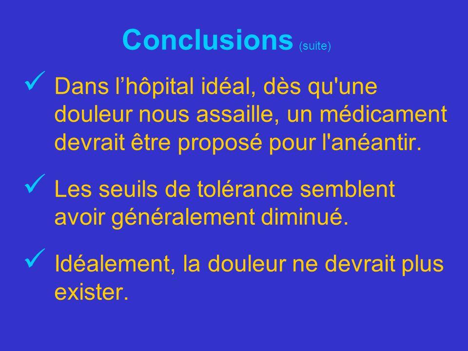 Conclusions (suite) Dans l'hôpital idéal, dès qu une douleur nous assaille, un médicament devrait être proposé pour l anéantir.