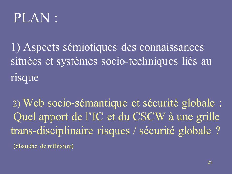 PLAN : 1) Aspects sémiotiques des connaissances situées et systèmes socio-techniques liés au risque 2) Web socio-sémantique et sécurité globale : Quel apport de l'IC et du CSCW à une grille trans-disciplinaire risques / sécurité globale .
