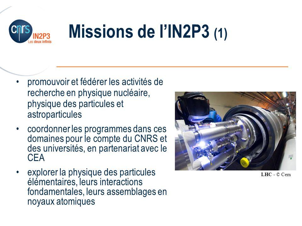 Missions de l'IN2P3 (1) promouvoir et fédérer les activités de recherche en physique nucléaire, physique des particules et astroparticules.