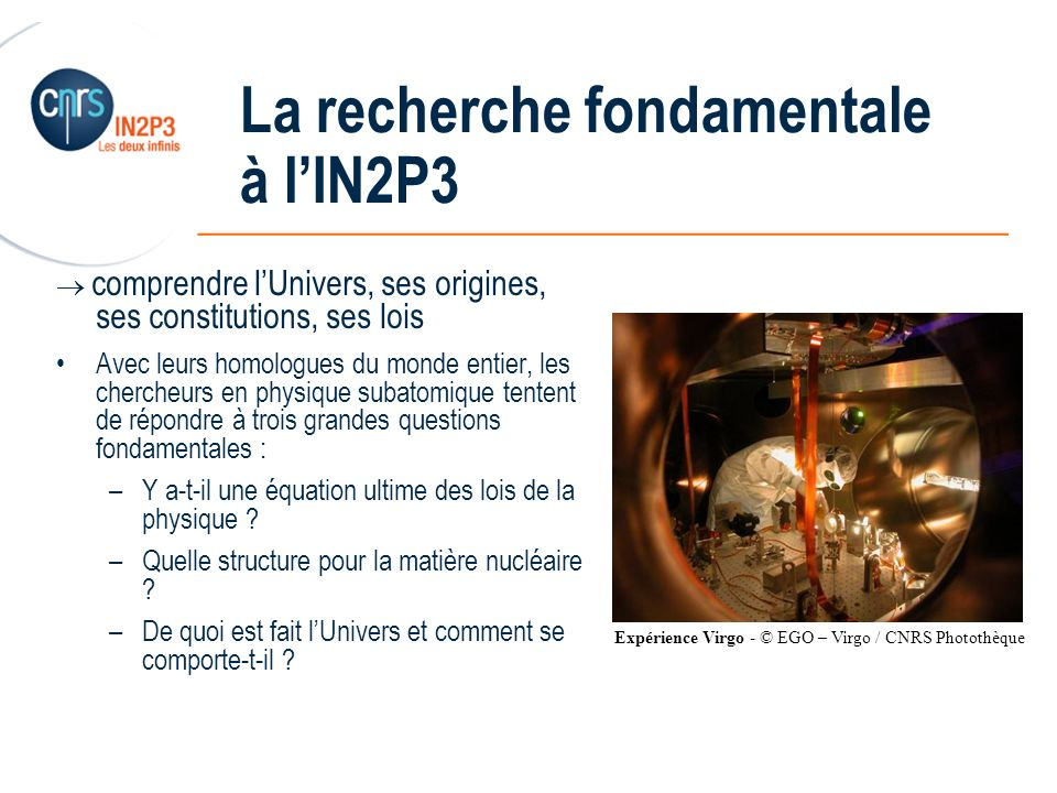 La recherche fondamentale à l'IN2P3