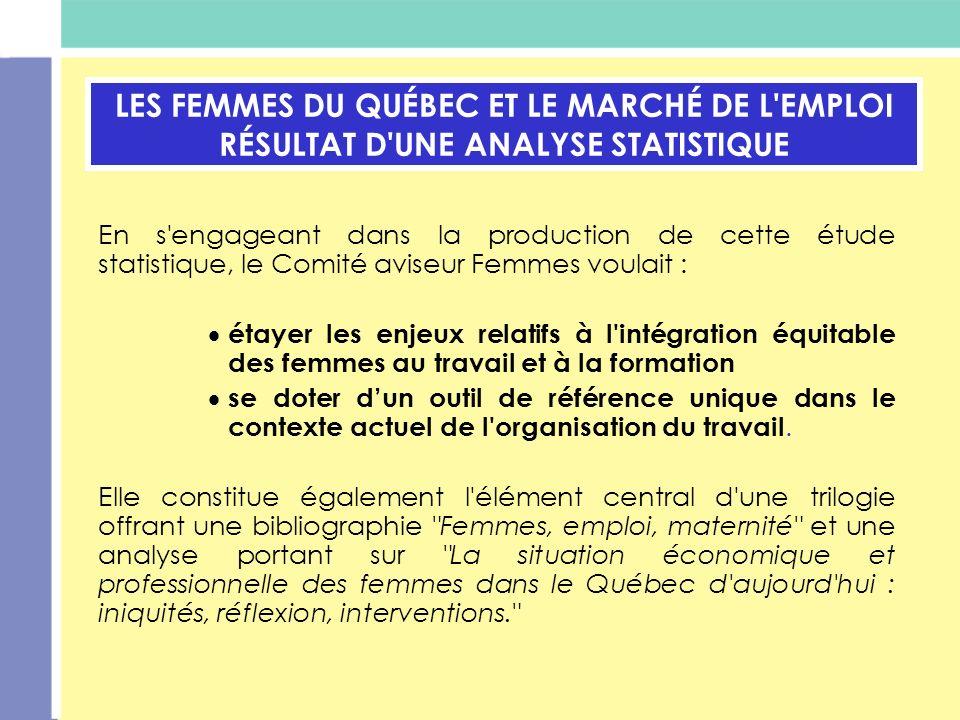 LES FEMMES DU QUÉBEC ET LE MARCHÉ DE L EMPLOI RÉSULTAT D UNE ANALYSE STATISTIQUE