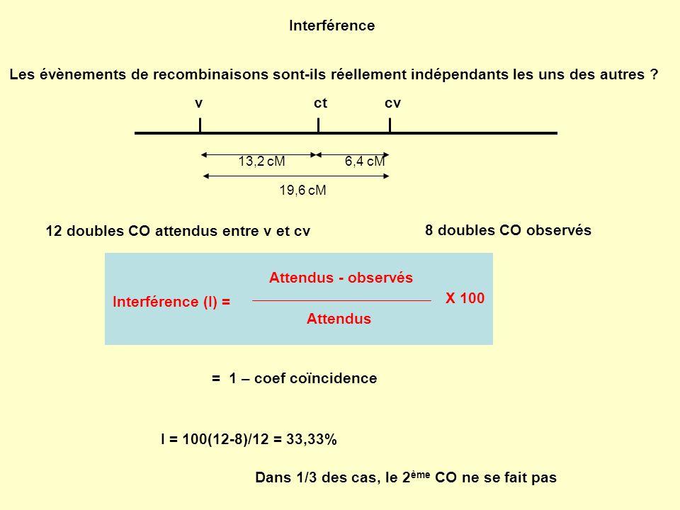 12 doubles CO attendus entre v et cv 8 doubles CO observés
