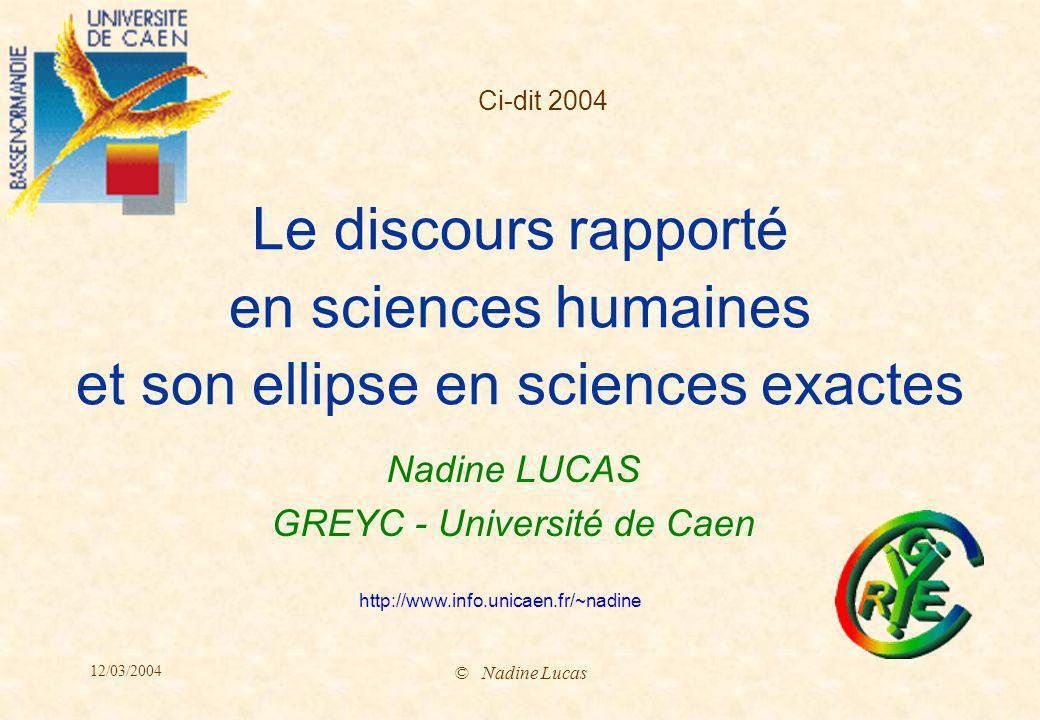 Nadine LUCAS GREYC - Université de Caen