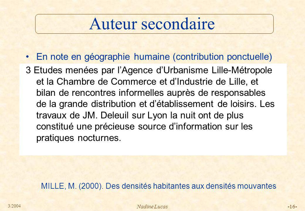 Auteur secondaire En note en géographie humaine (contribution ponctuelle)