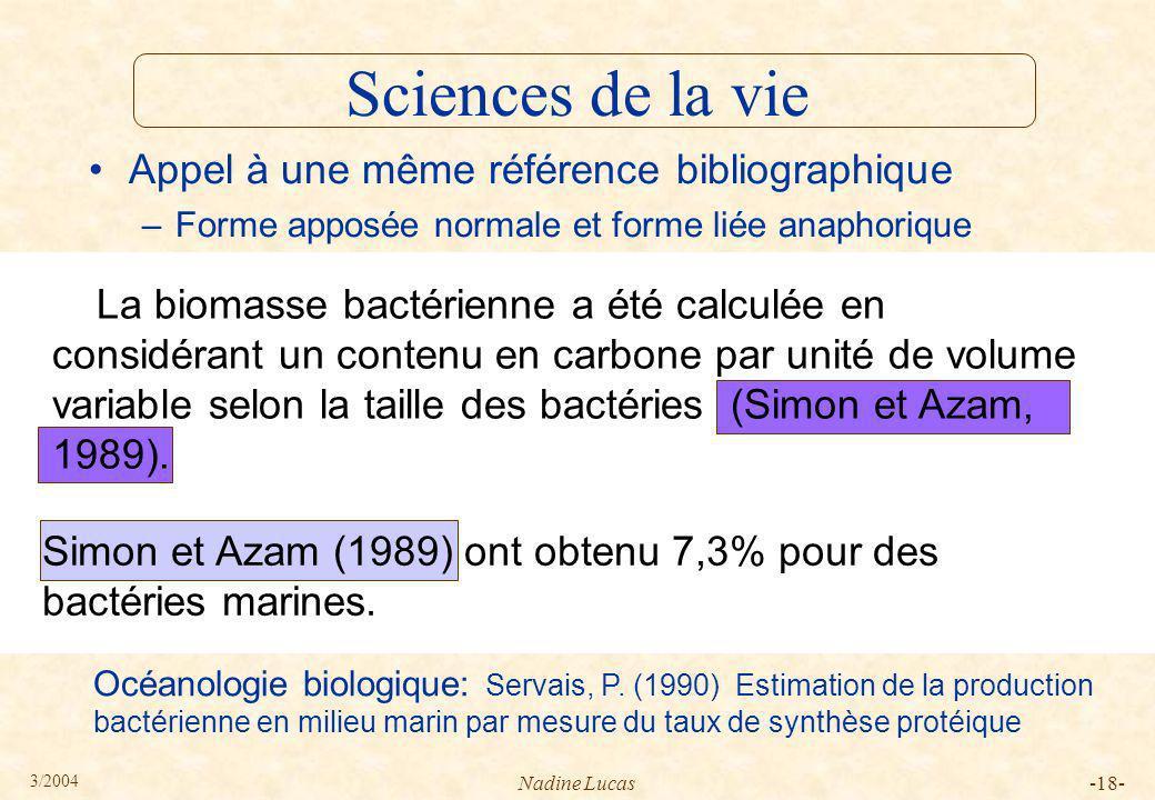 Sciences de la vie Appel à une même référence bibliographique