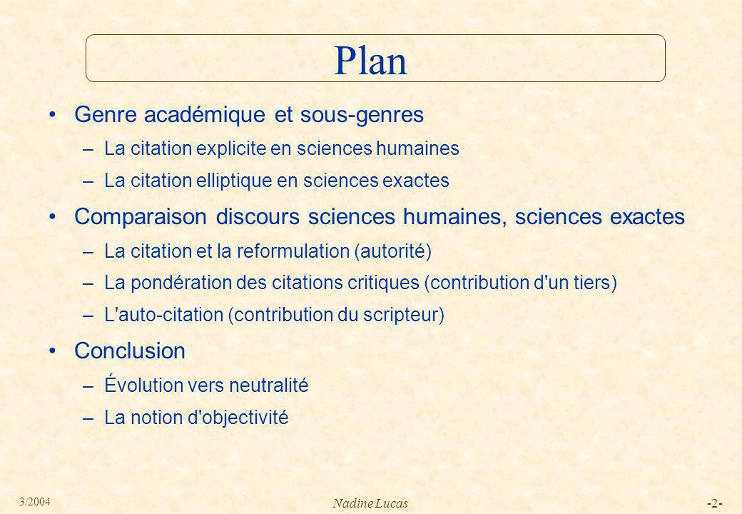 Plan Genre académique et sous-genres