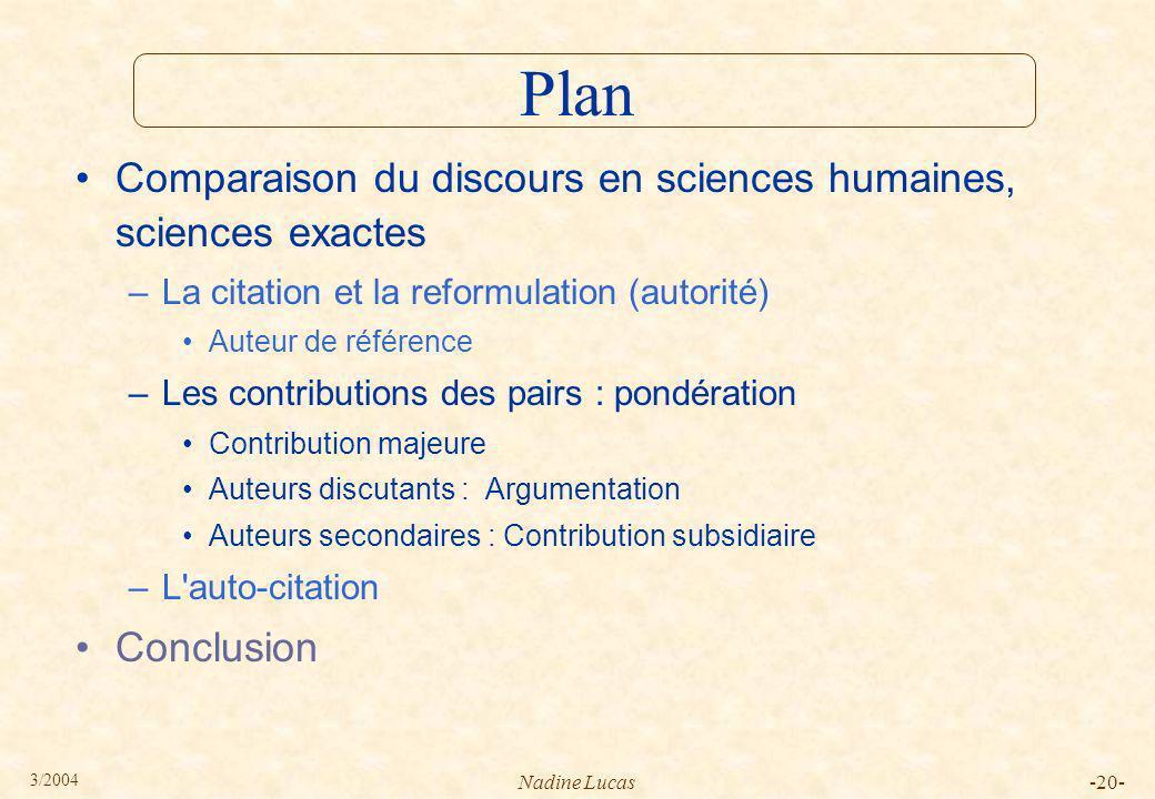 Plan Comparaison du discours en sciences humaines, sciences exactes