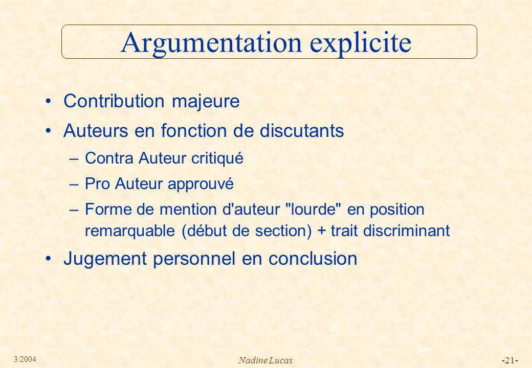 Argumentation explicite