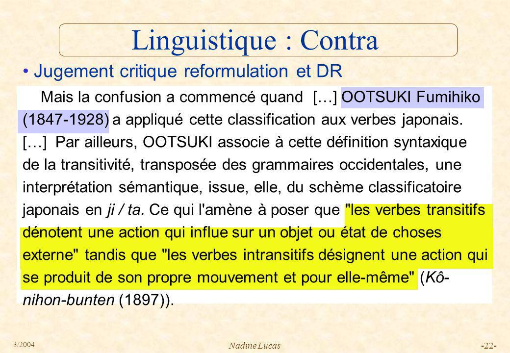 Linguistique : Contra Jugement critique reformulation et DR