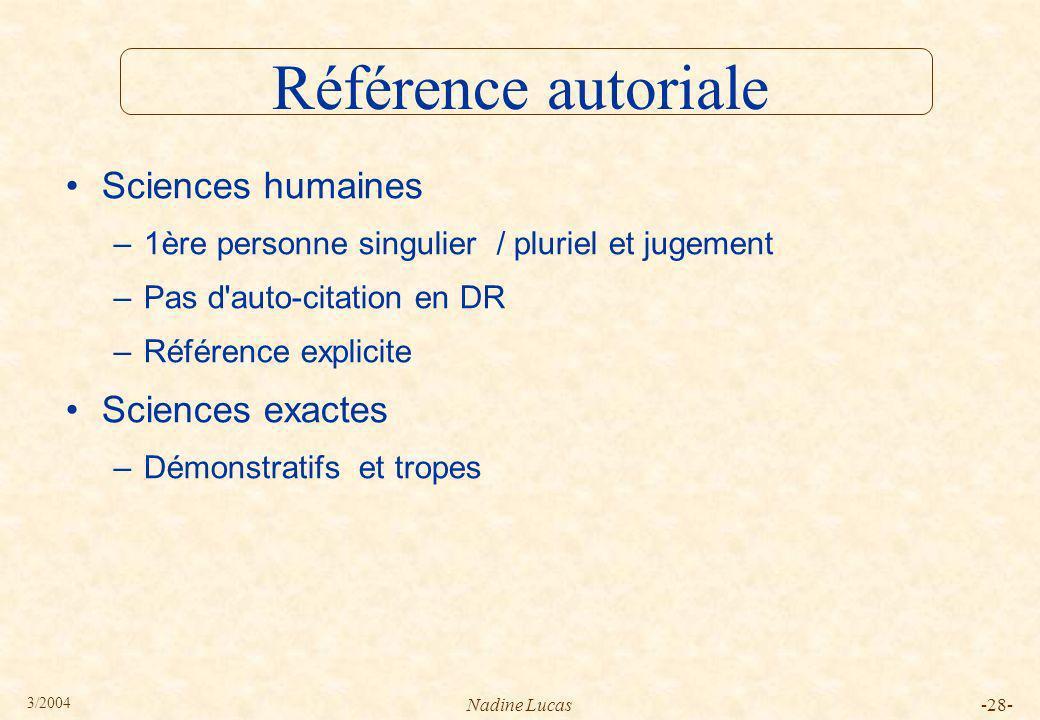 Référence autoriale Sciences humaines Sciences exactes