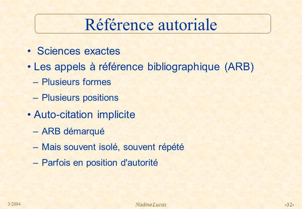 Référence autoriale Sciences exactes