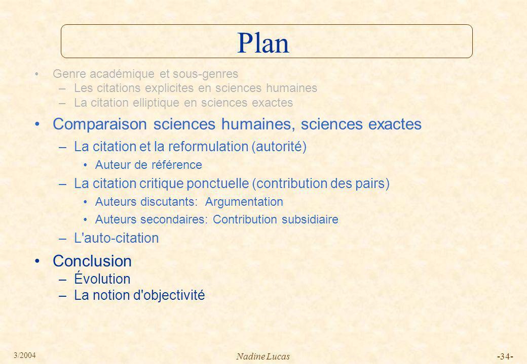 Plan Comparaison sciences humaines, sciences exactes Conclusion