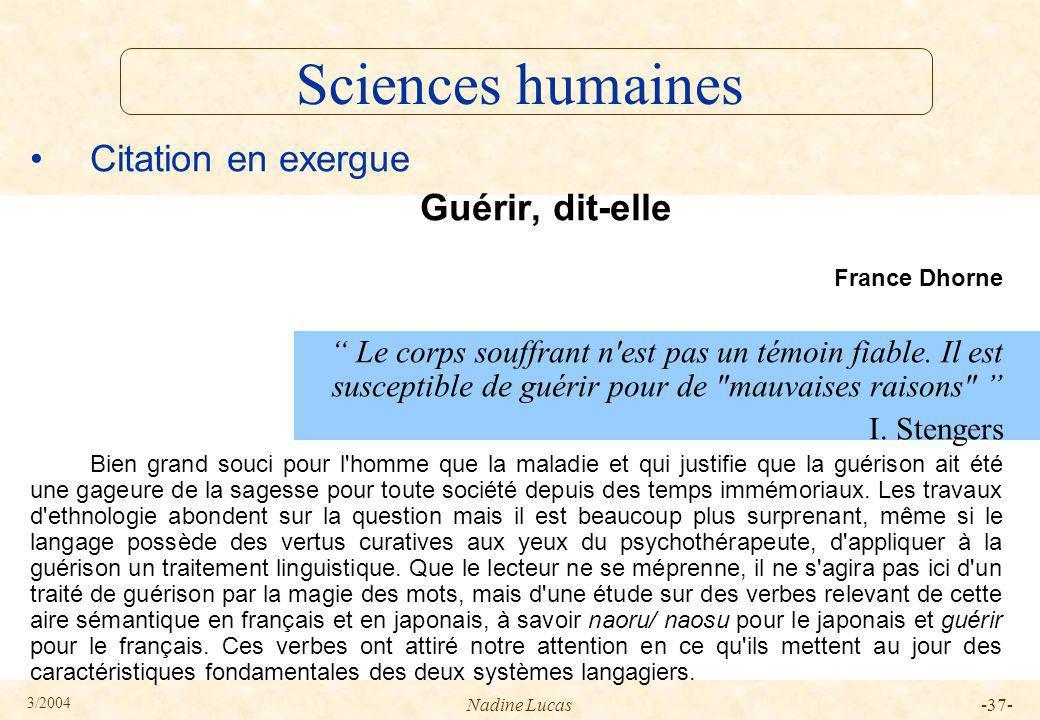 Sciences humaines Citation en exergue Guérir, dit-elle