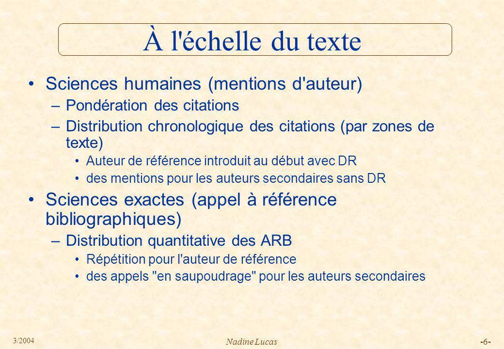 À l échelle du texte Sciences humaines (mentions d auteur)