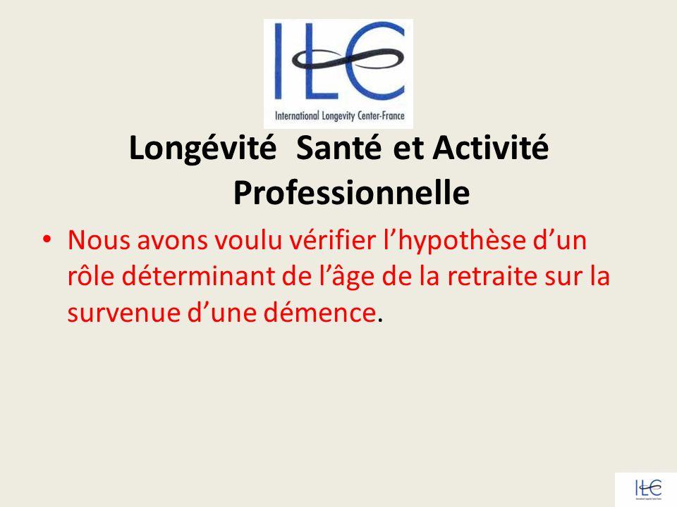 Longévité Santé et Activité Professionnelle