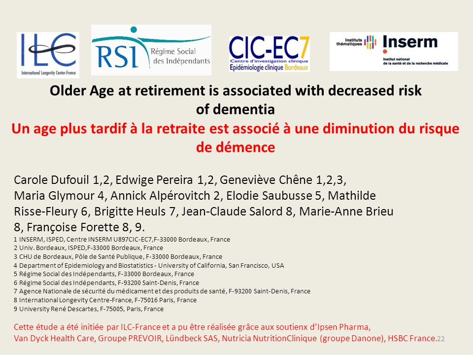 Older Age at retirement is associated with decreased risk of dementia Un age plus tardif à la retraite est associé à une diminution du risque de démence