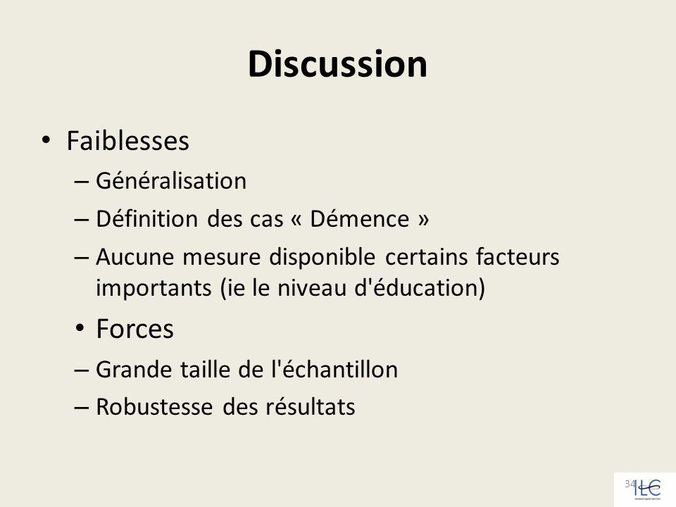 Discussion Faiblesses Forces Généralisation