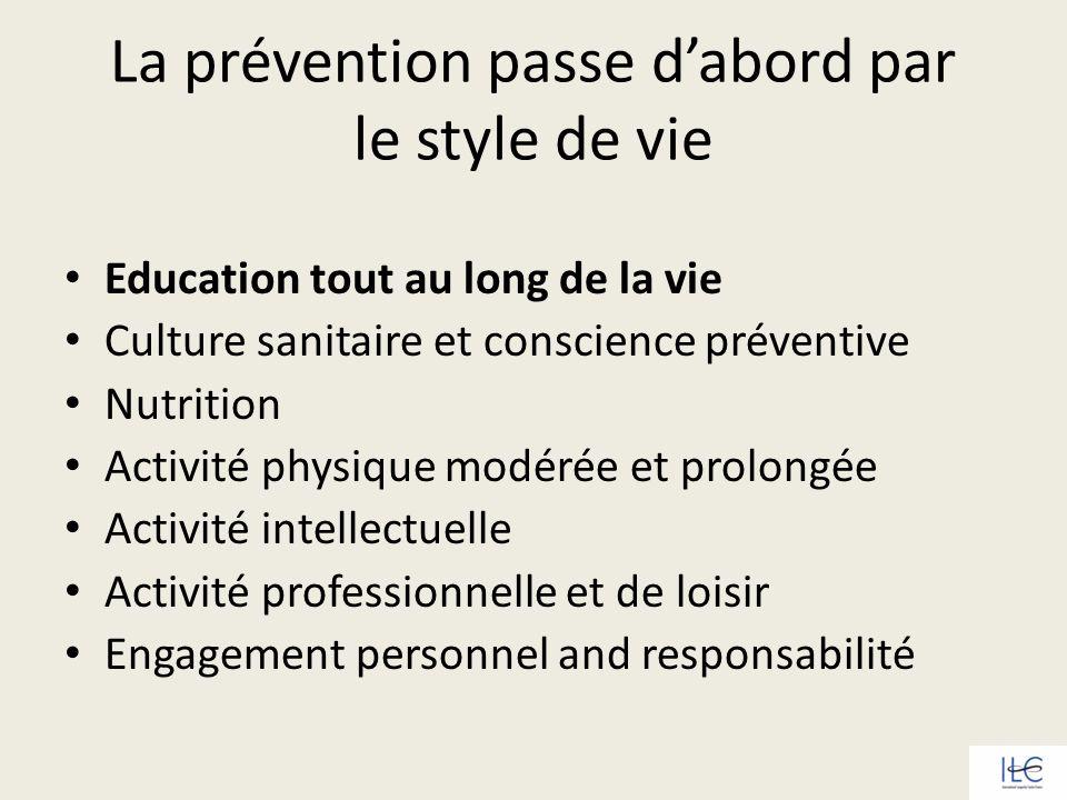 La prévention passe d'abord par le style de vie