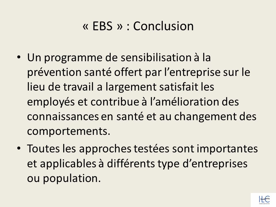 « EBS » : Conclusion