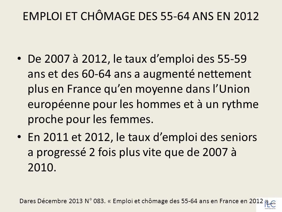 EMPLOI ET CHÔMAGE DES 55-64 ANS EN 2012