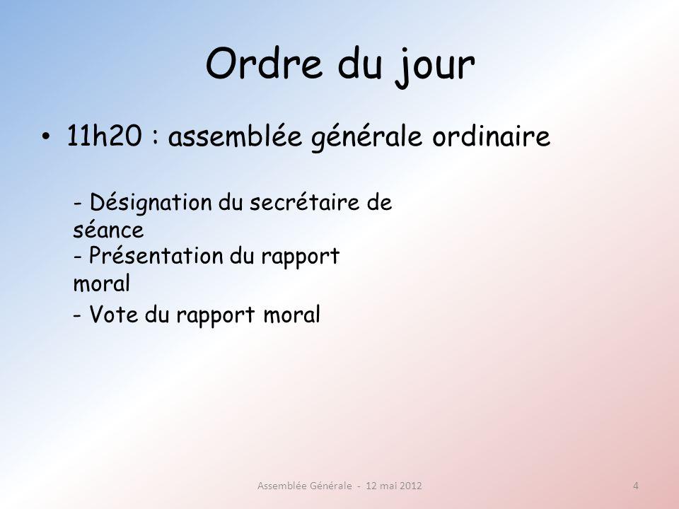 Assemblée Générale - 12 mai 2012