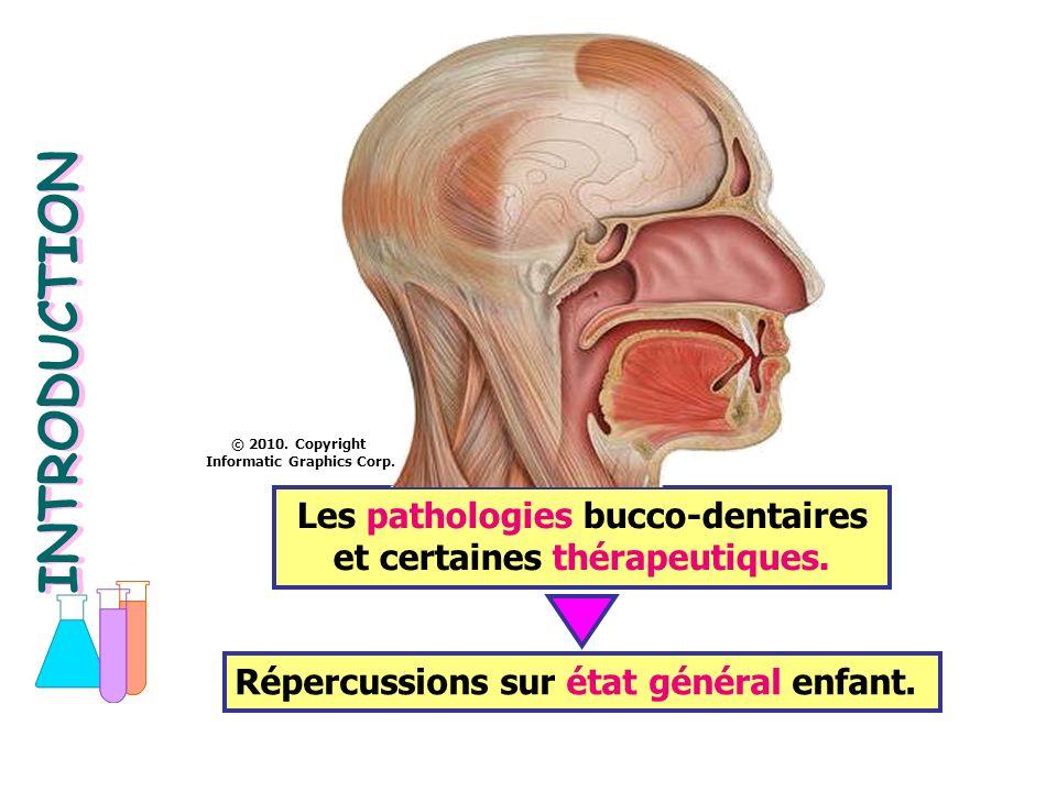 INTRODUCTION © 2010. Copyright. Informatic Graphics Corp. Les pathologies bucco-dentaires et certaines thérapeutiques.