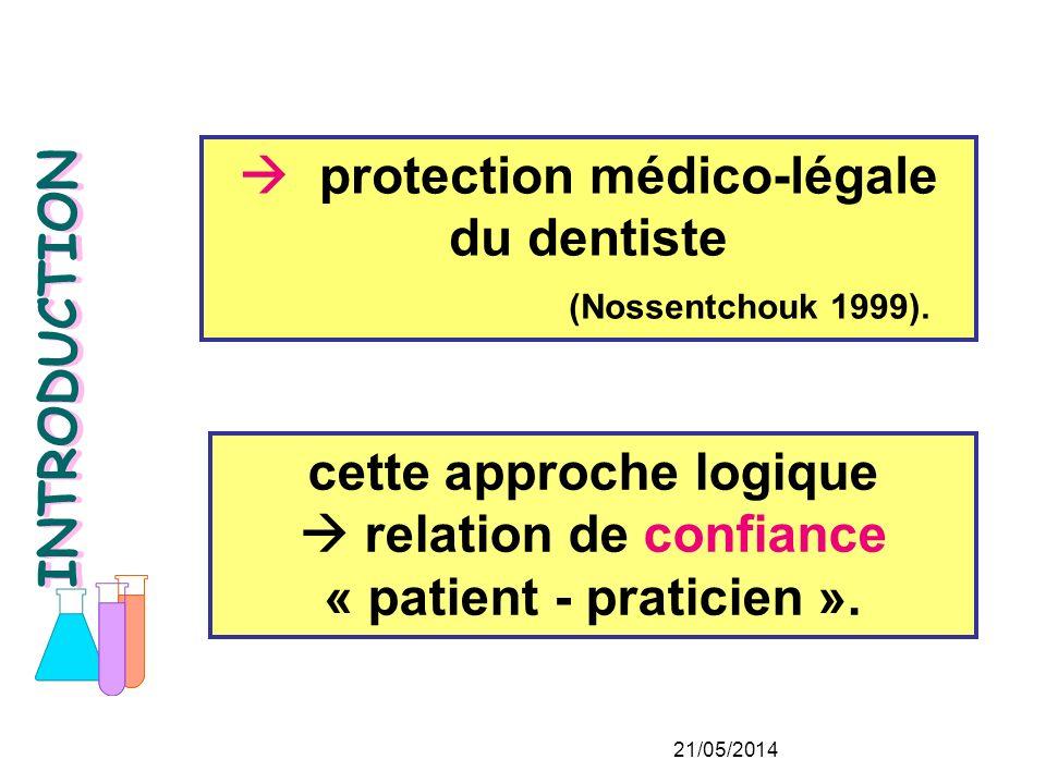  protection médico-légale du dentiste (Nossentchouk 1999).