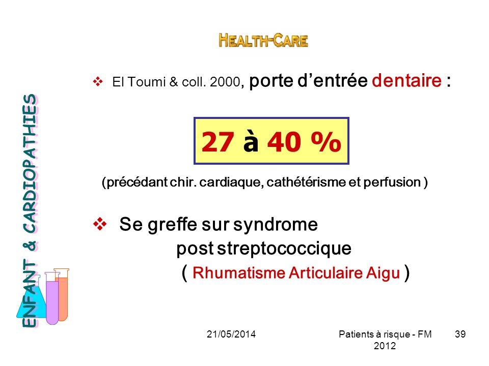 27 à 40 % Se greffe sur syndrome post streptococcique