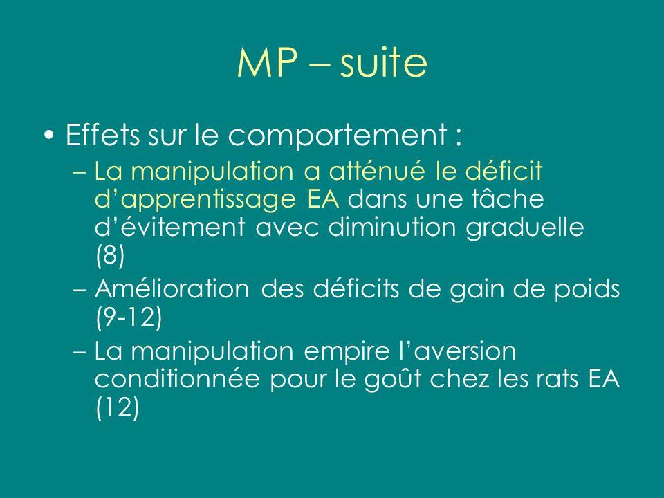 MP – suite Effets sur le comportement :