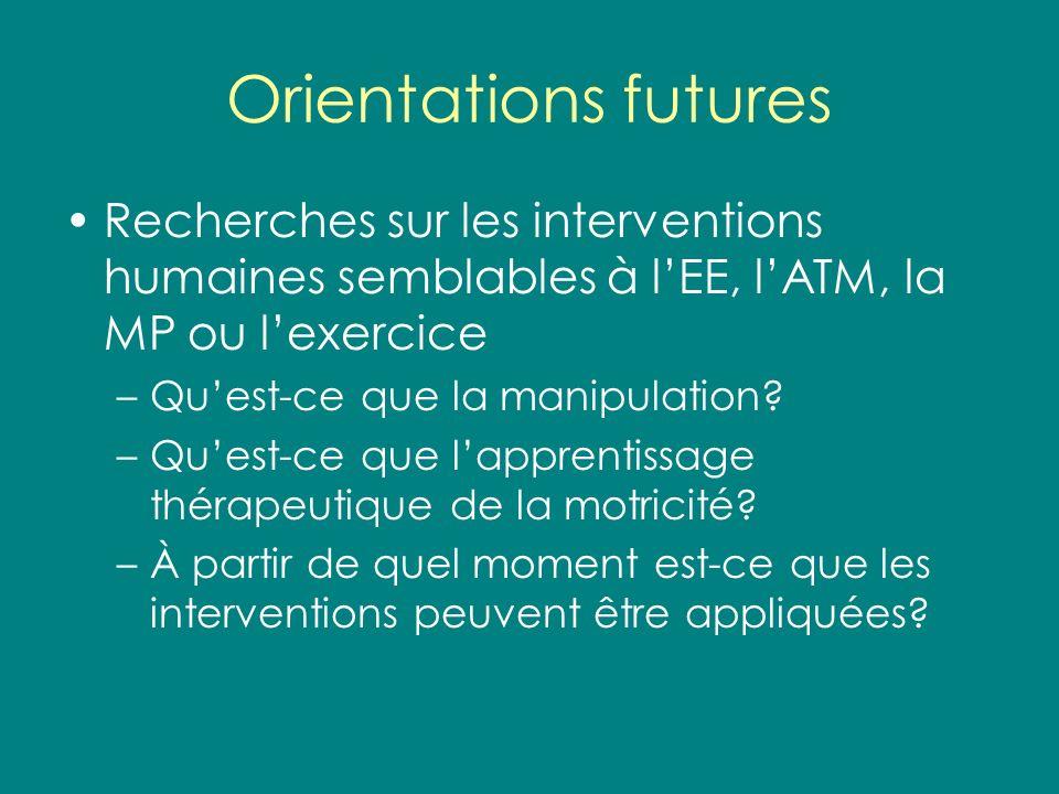 Orientations futures Recherches sur les interventions humaines semblables à l'EE, l'ATM, la MP ou l'exercice.
