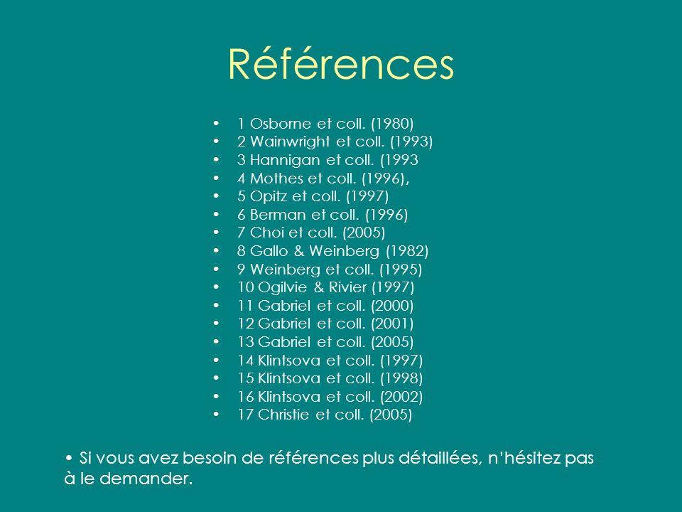 Références 1 Osborne et coll. (1980) 2 Wainwright et coll. (1993) 3 Hannigan et coll. (1993. 4 Mothes et coll. (1996),