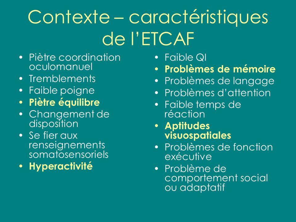 Contexte – caractéristiques de l'ETCAF