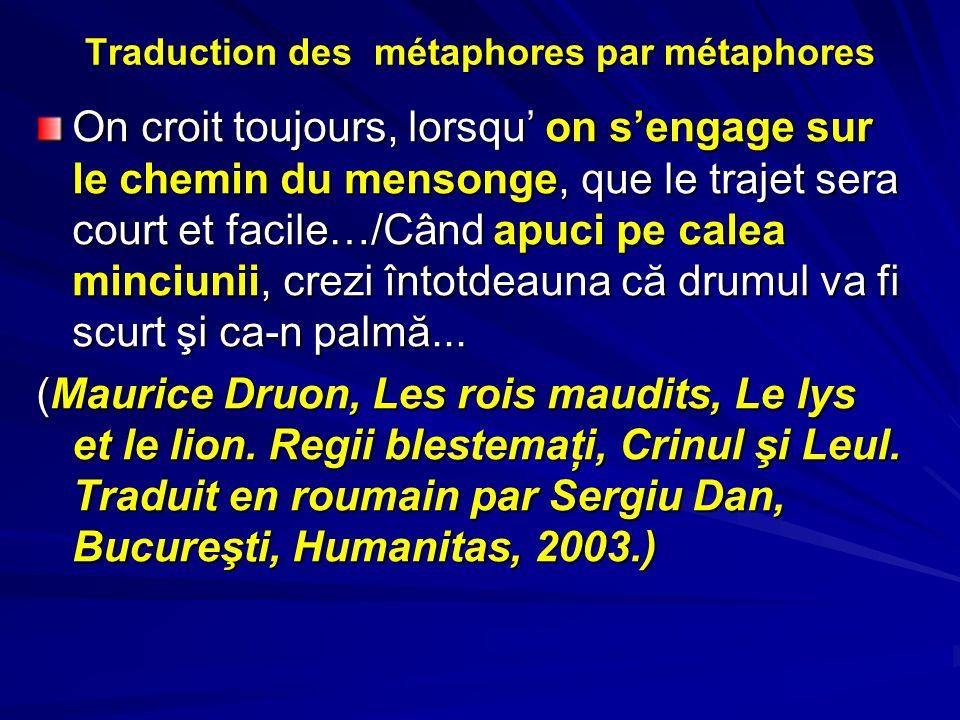Traduction des métaphores par métaphores