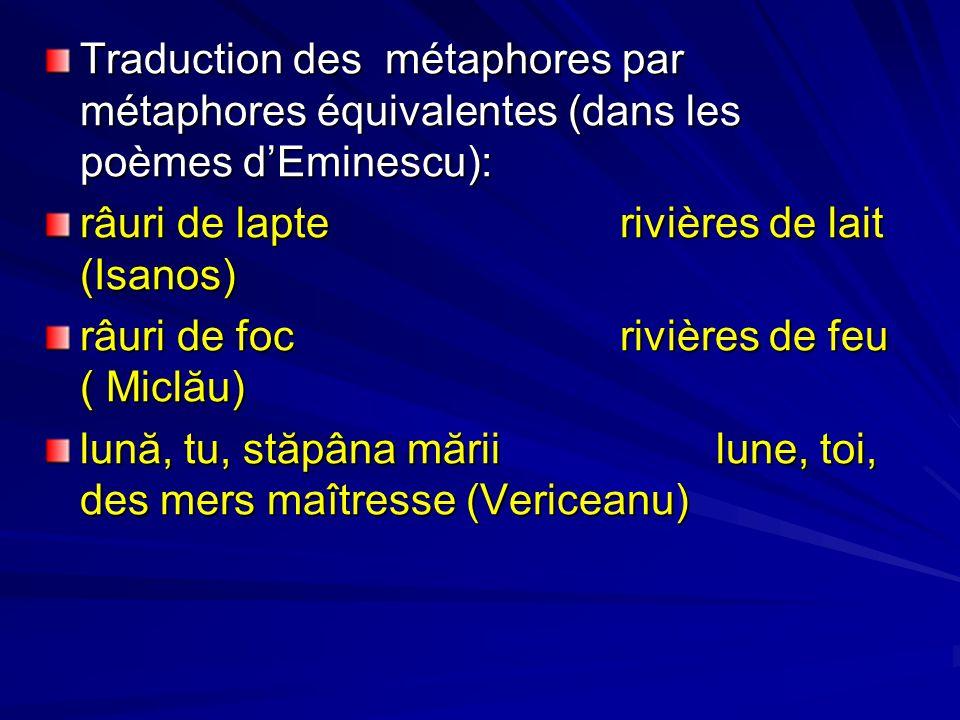Traduction des métaphores par métaphores équivalentes (dans les poèmes d'Eminescu):