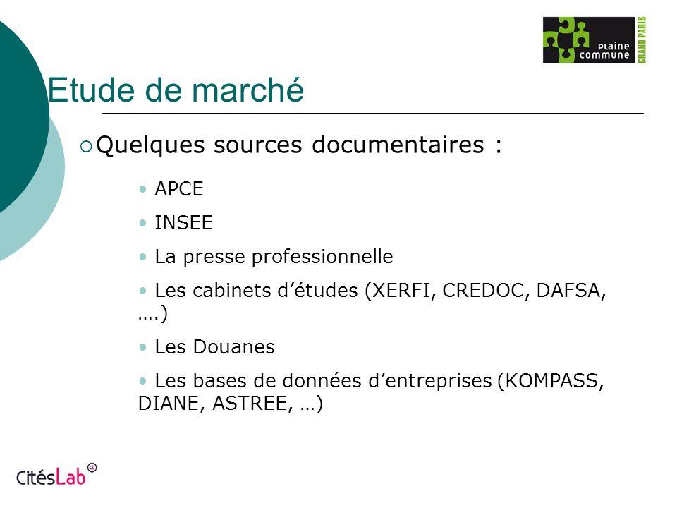 Etude de marché Quelques sources documentaires : APCE INSEE