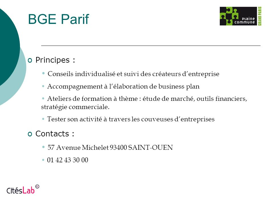 BGE Parif Principes : Contacts :