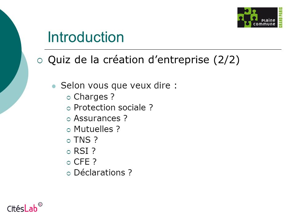 Introduction Quiz de la création d'entreprise (2/2)