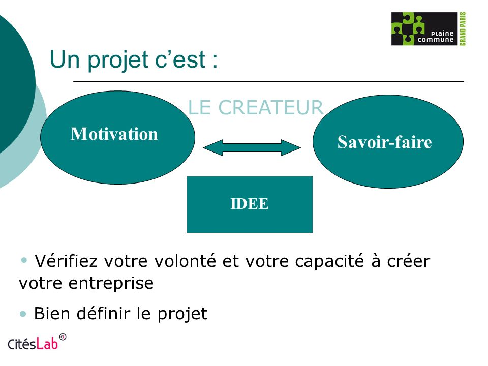 Un projet c'est : LE CREATEUR Motivation Savoir-faire