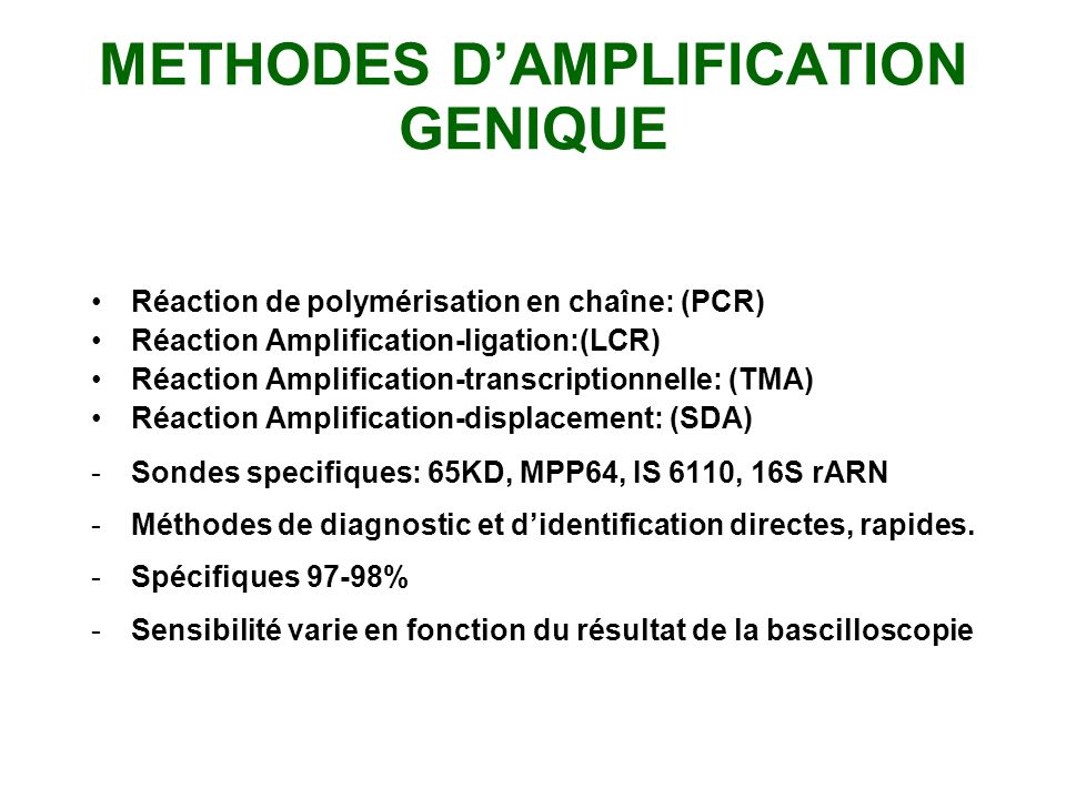 METHODES D'AMPLIFICATION GENIQUE