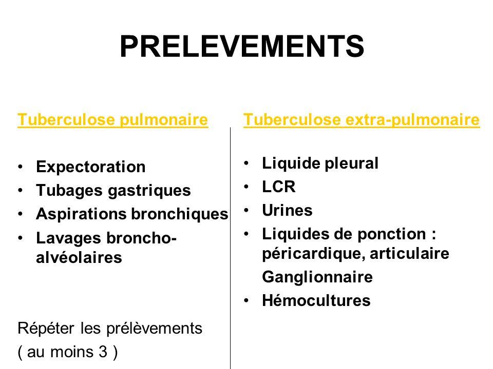 PRELEVEMENTS Tuberculose pulmonaire Expectoration Tubages gastriques