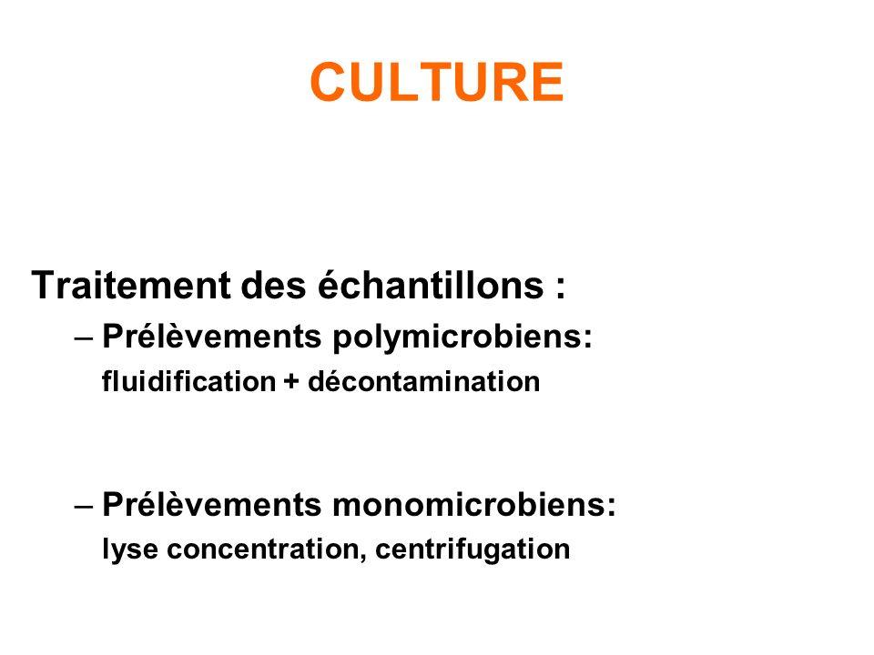 CULTURE Traitement des échantillons : Prélèvements polymicrobiens: